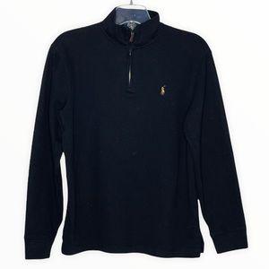 Polo Ralph Lauren Men's Quarter Zip Fleece Top Estate Rib Navy Blue